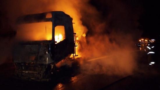 Carreta pegou fogo na BR 040
