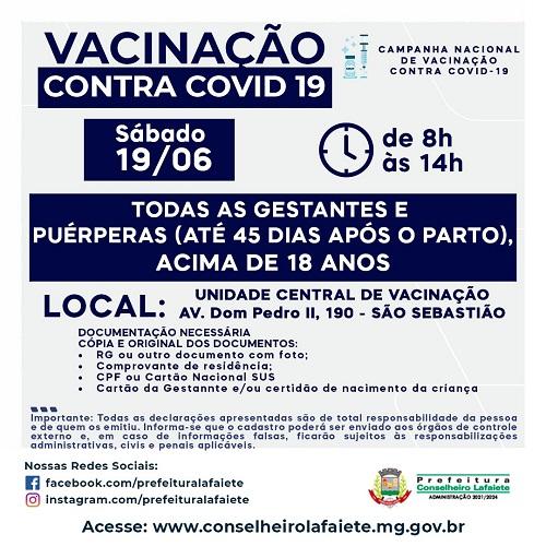 Arte de divulgação da vacinação