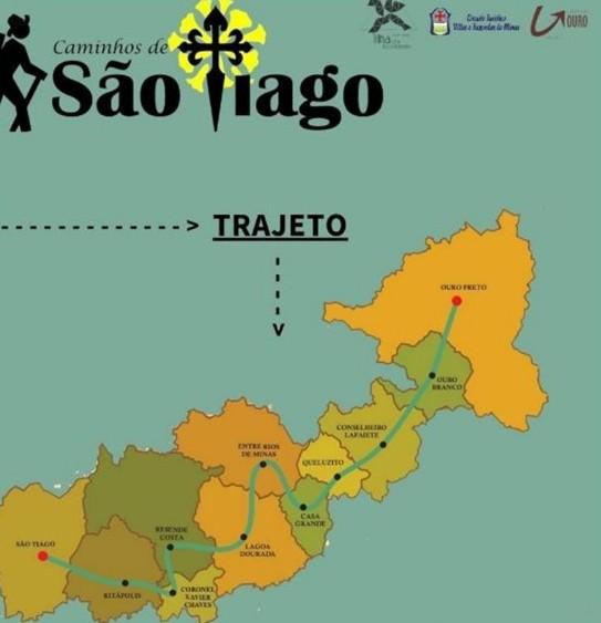 Trajeto das 11 cidades presentes no projeto Caminhos de São Tiago