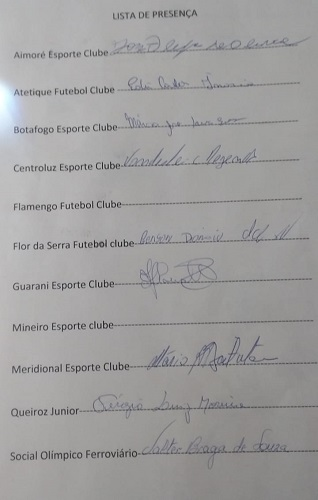 Clubes que participaram da reunião de discussão do projeto. Flamengo e Mineiro não estiveram presentes