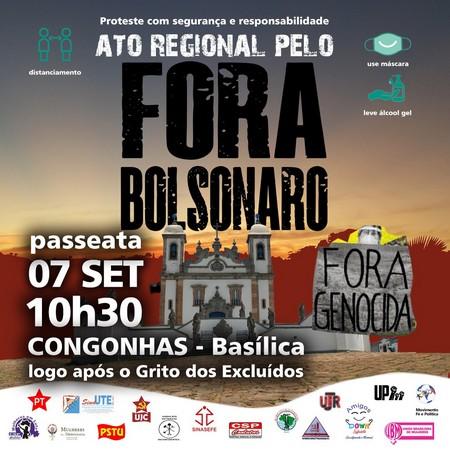 """Ato regional """"Fora Bolsonaro será em Congonhas"""